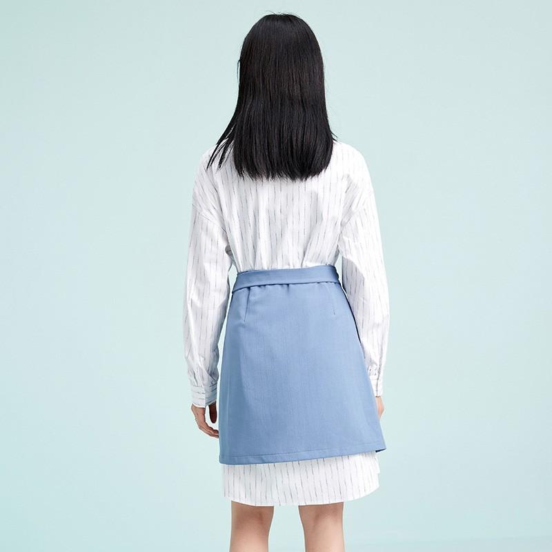 金苑两件套连衣裙2020春季新品韩版设计感气质条纹衬衫裙G2011065