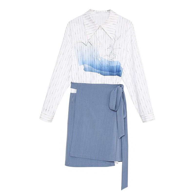 金苑两件套连衣裙2020春季新品韩版设计感气质条纹衬衫裙G2011066