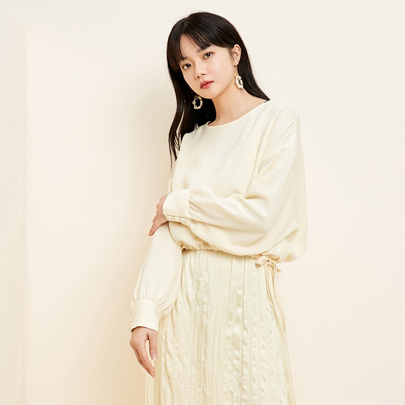 金苑衬衫女2020新款韩版衬衣女收腰复古宽松圆领小上衣女A2011064
