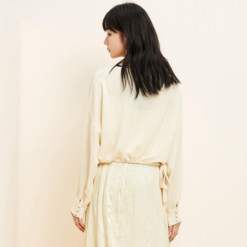 金苑衬衫女2020新款韩版衬衣女收腰复古宽松圆领小上衣女A2011063