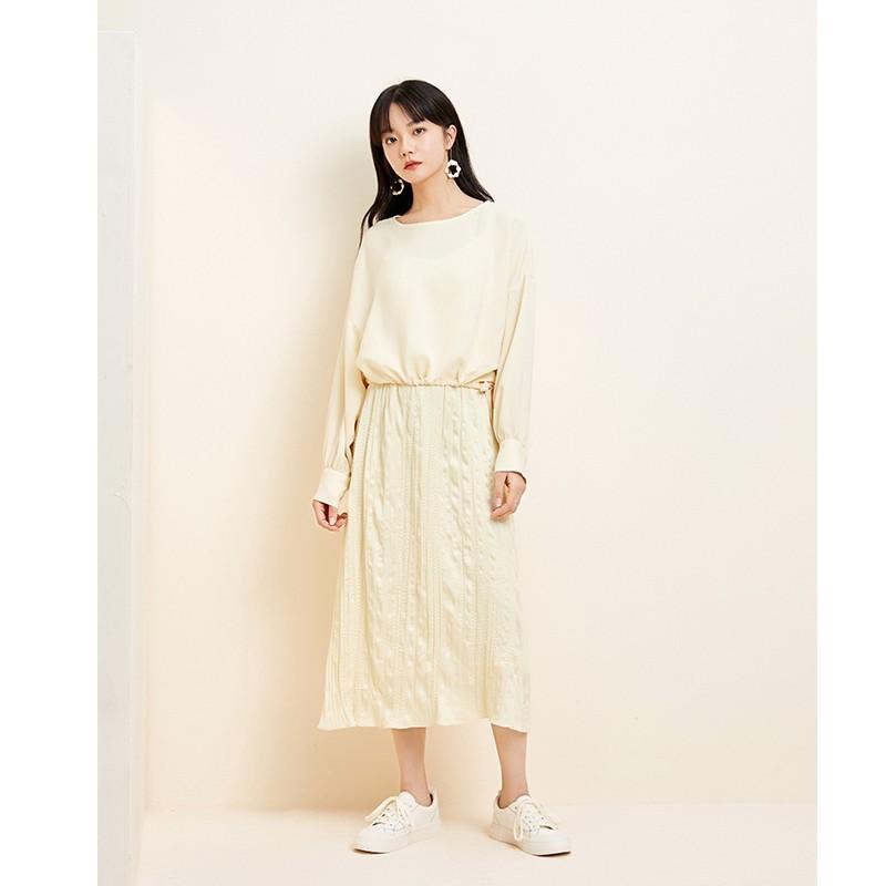 金苑衬衫女2020新款韩版衬衣女收腰复古宽松圆领小上衣女A2011066
