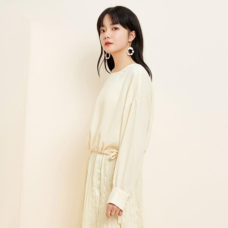 金苑衬衫女2020新款韩版衬衣女收腰复古宽松圆领小上衣女A2011062