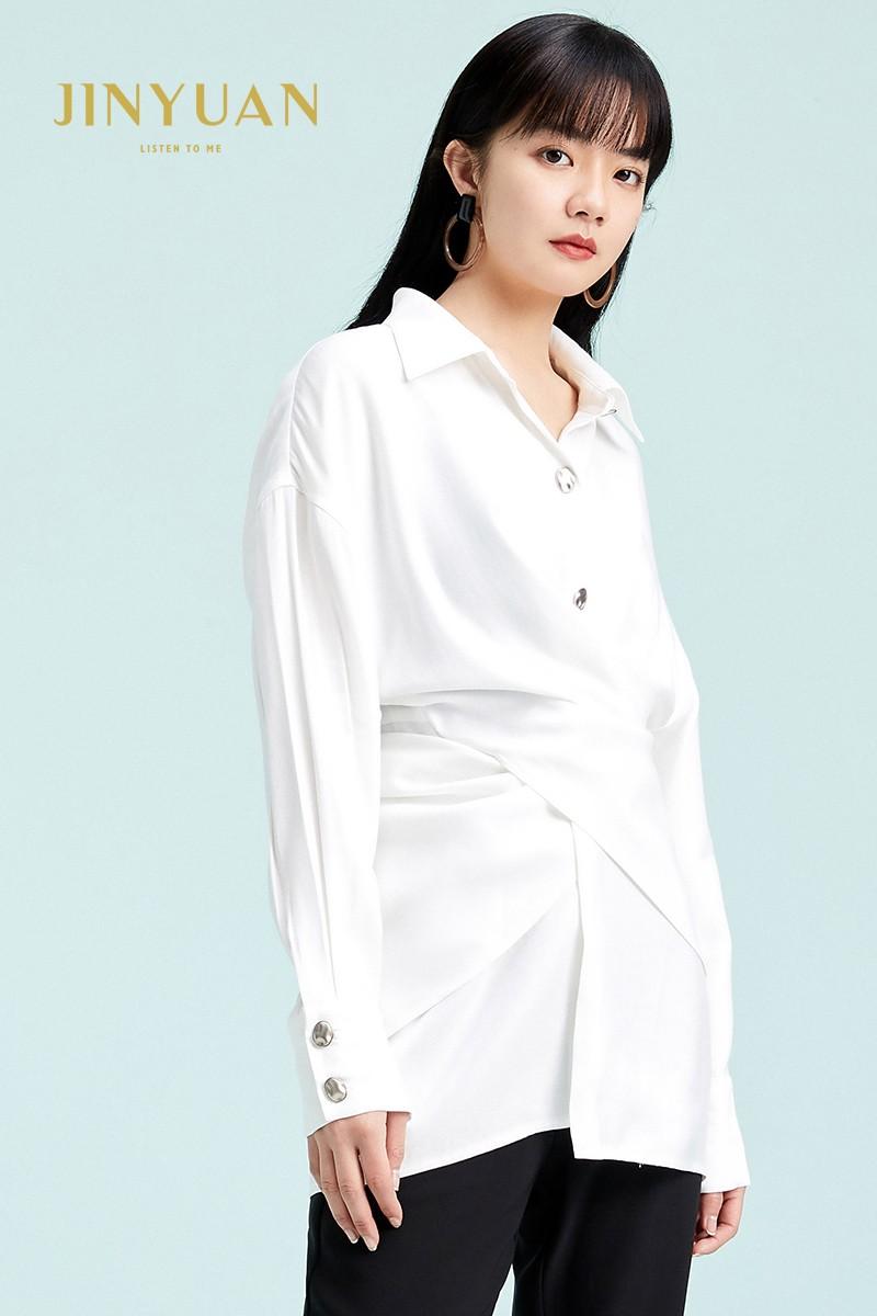 金苑衬衣女2020春装新款长袖设计感韩版上衣雪纺白衬衫女A2011077