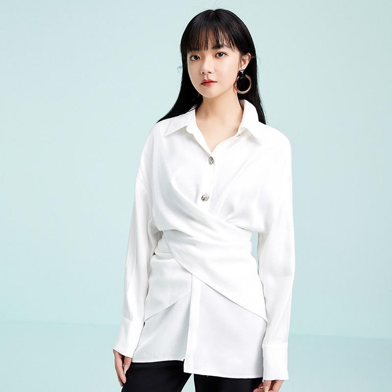 金苑衬衣女2020春装新款长袖设计感韩版上衣雪纺白衬衫女A2011074