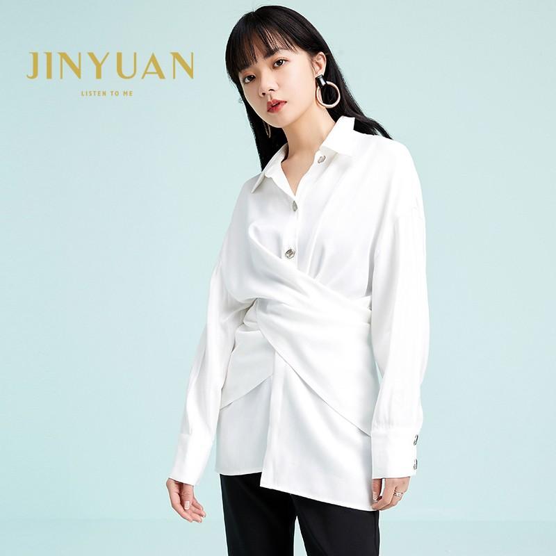 金苑衬衣女2020春装新款长袖设计感韩版上衣雪纺白衬衫女A2011071