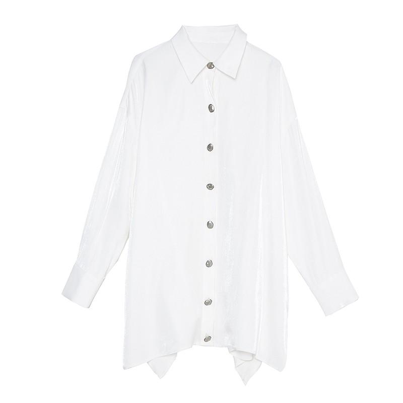 金苑衬衣女2020春装新款长袖设计感韩版上衣雪纺白衬衫女A2011075