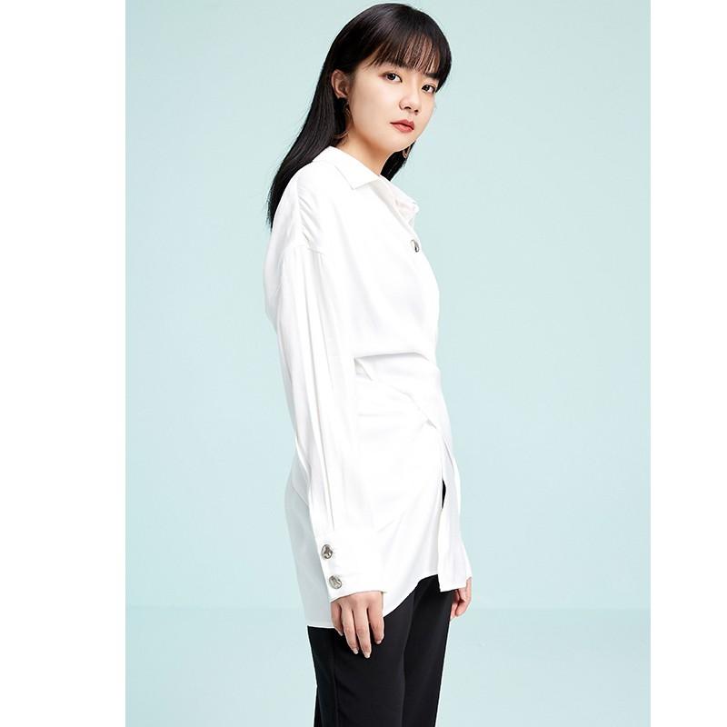金苑衬衣女2020春装新款长袖设计感韩版上衣雪纺白衬衫女A2011076