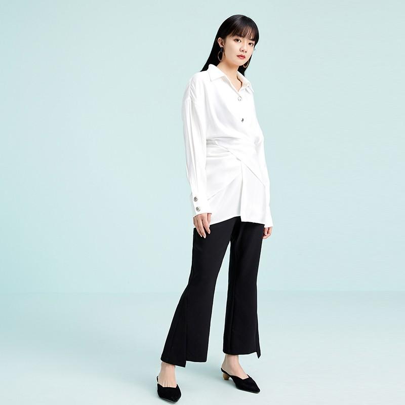 金苑衬衣女2020春装新款长袖设计感韩版上衣雪纺白衬衫女A2011072