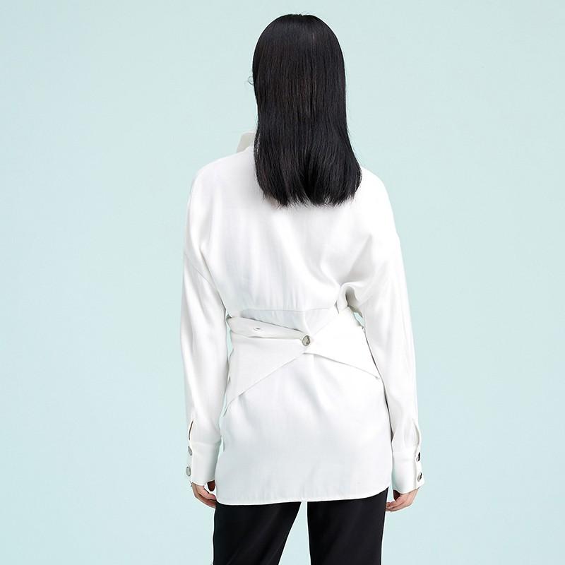 金苑衬衣女2020春装新款长袖设计感韩版上衣雪纺白衬衫女A2011073