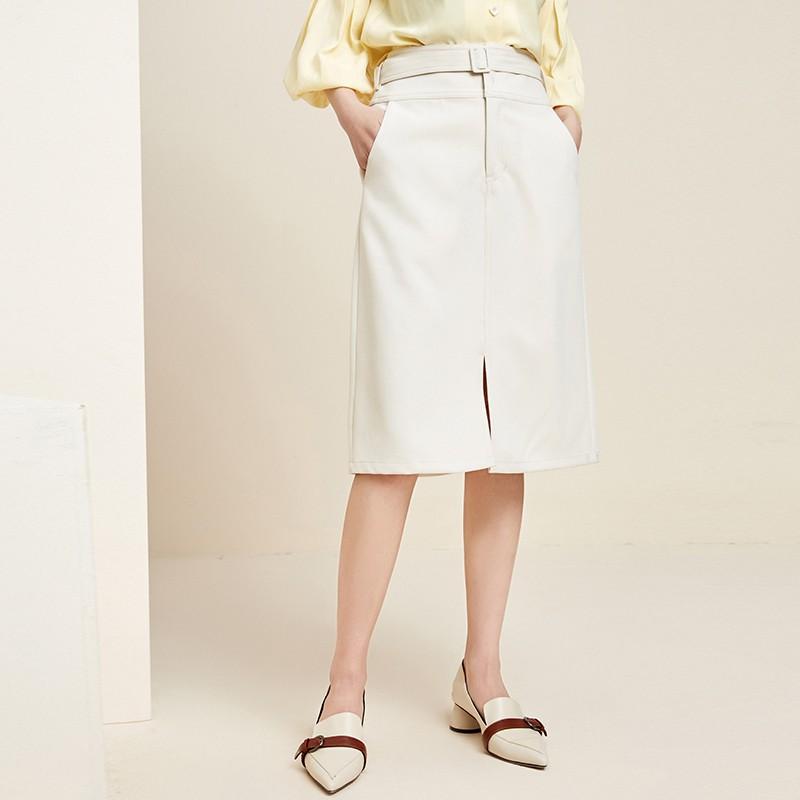金苑裙子女2020新款春装中长款气质纯色高腰a字裙半身裙女B2011082