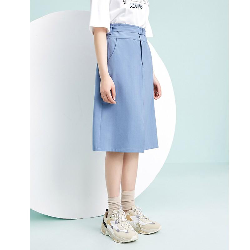 金苑裙子女2020新款春装中长款气质纯色高腰a字裙半身裙女B2011083