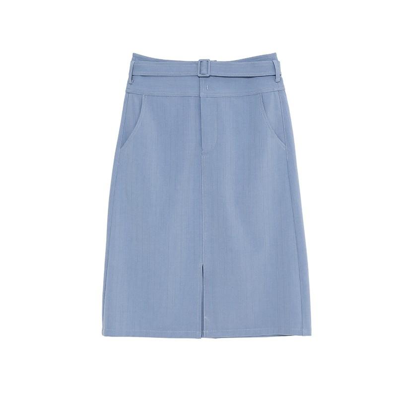 金苑裙子女2020新款春装中长款气质纯色高腰a字裙半身裙女B2011085