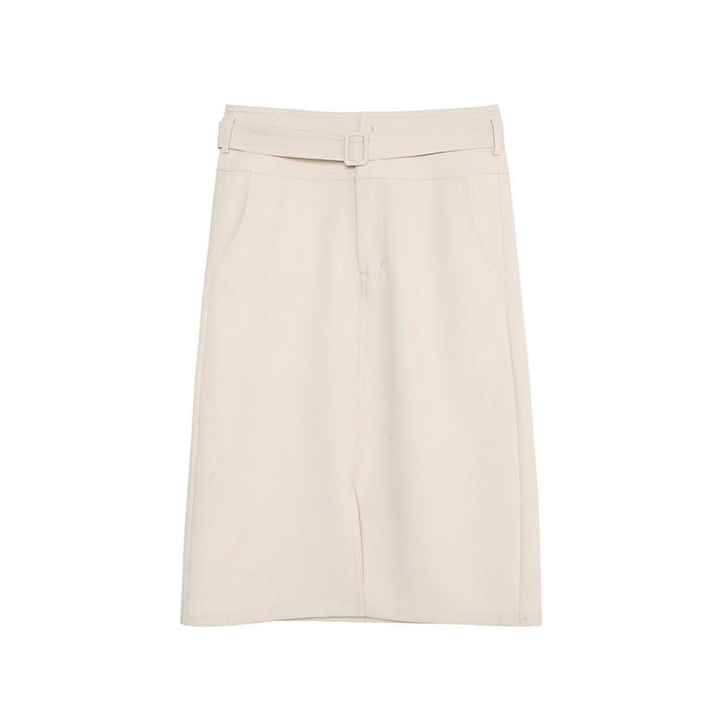 金苑裙子女2020新款春装中长款气质纯色高腰a字裙半身裙女B2011086