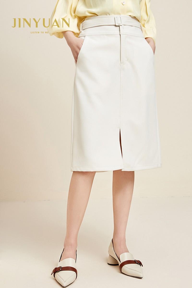 金苑裙子女2020新款春装中长款气质纯色高腰a字裙半身裙女B2011087