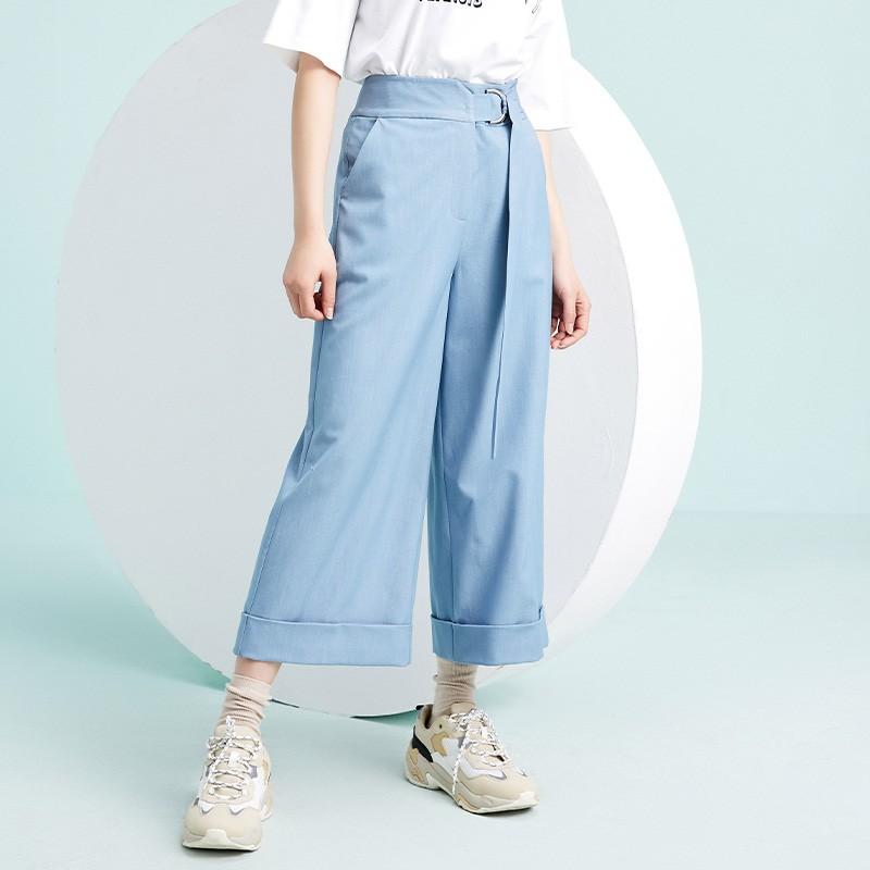 金苑阔腿裤女2020春新款韩版裤子纯色宽松休闲裤女士长裤C2011023