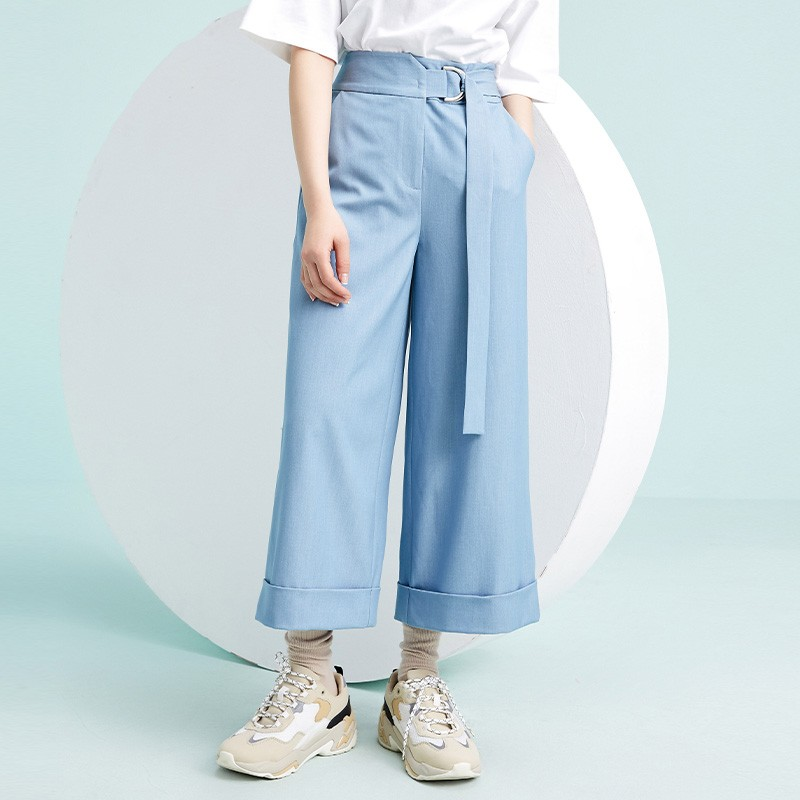 金苑阔腿裤女2020春新款韩版裤子纯色宽松休闲裤女士长裤C2011026