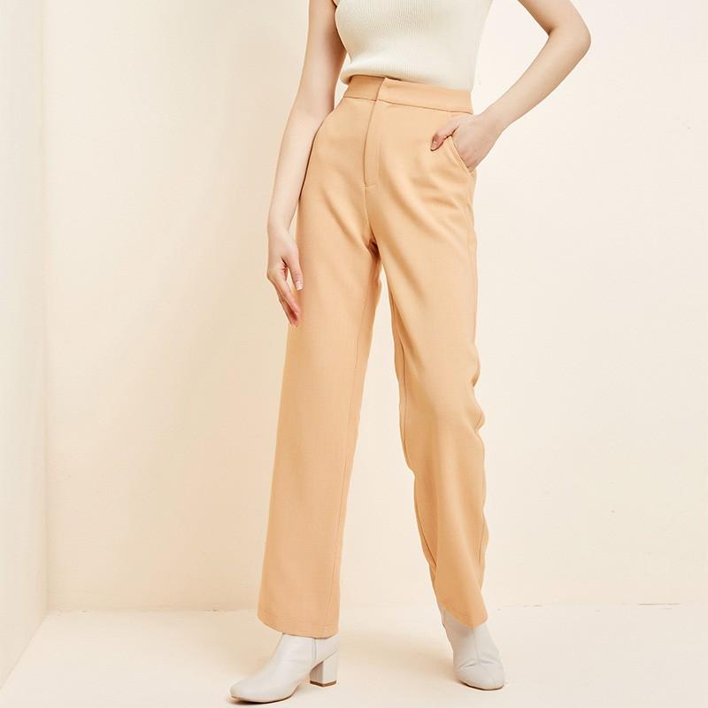 金苑韩版直筒裤修身显瘦百搭纯色休闲长裤2020春季新款女C2011162