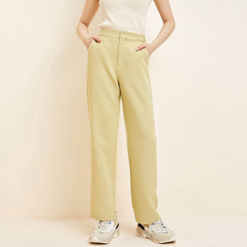 金苑韩版直筒裤修身显瘦百搭纯色休闲长裤2020春季新款女C2011168