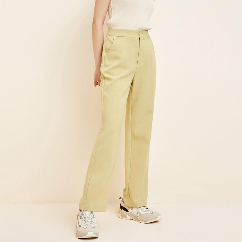 金苑韩版直筒裤修身显瘦百搭纯色休闲长裤2020春季新款女C20111610