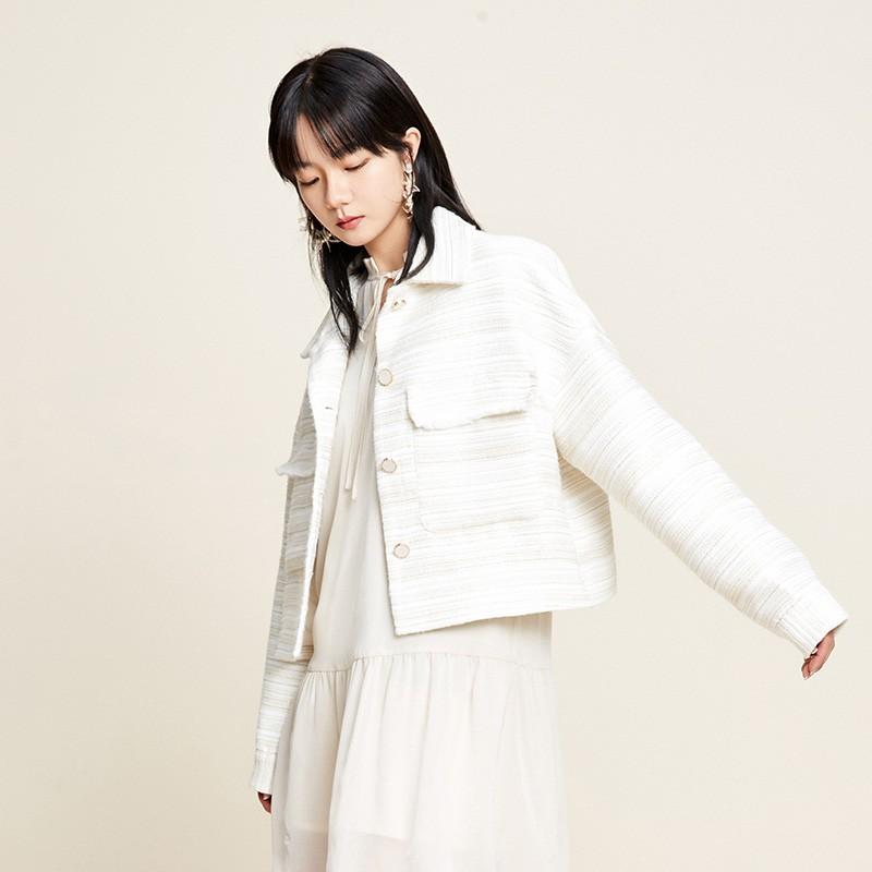 金苑2020新款春装韩版复古单排扣毛须边格子小香风外套女D2011052