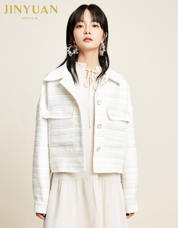 金苑2020新款春装韩版复古单排扣毛须边格子小香风外套女D2011057