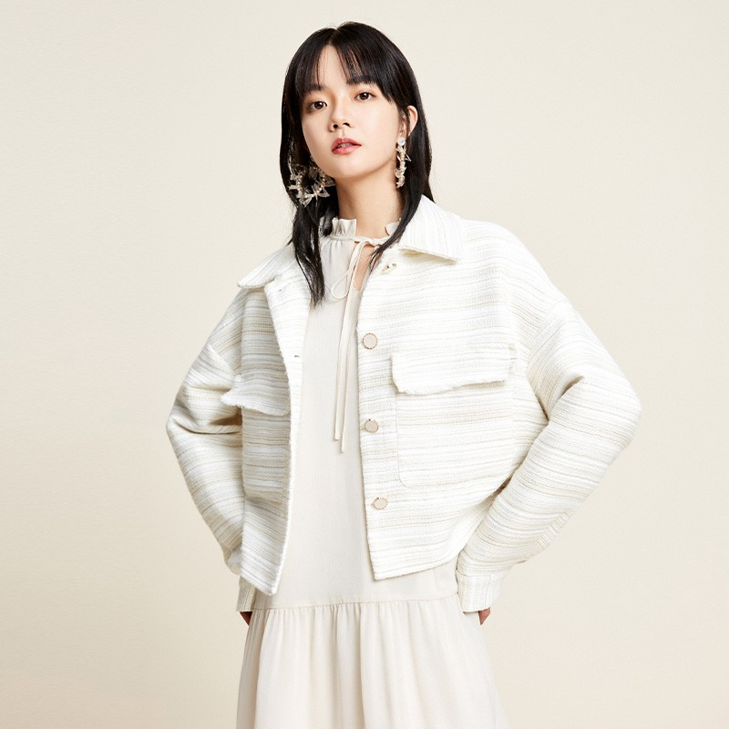 金苑2020新款春装韩版复古单排扣毛须边格子小香风外套女D2011053