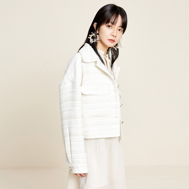 金苑2020新款春装韩版复古单排扣毛须边格子小香风外套女D2011056