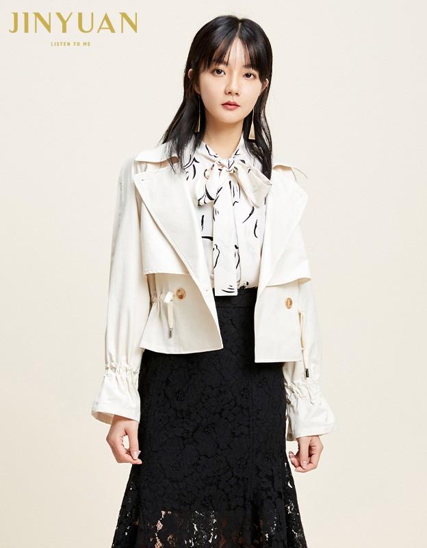 金苑外套女2020春季新款翻领休闲小香风时尚收腰短外套女D2011067