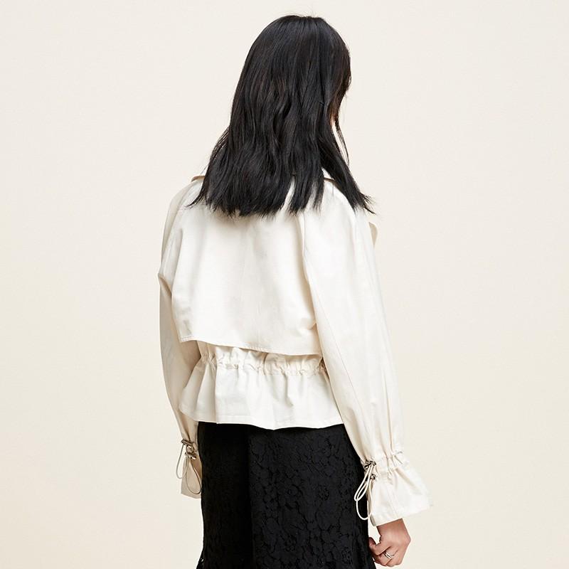金苑外套女2020春季新款翻领休闲小香风时尚收腰短外套女D2011064