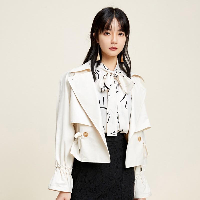金苑外套女2020春季新款翻领休闲小香风时尚收腰短外套女D2011066