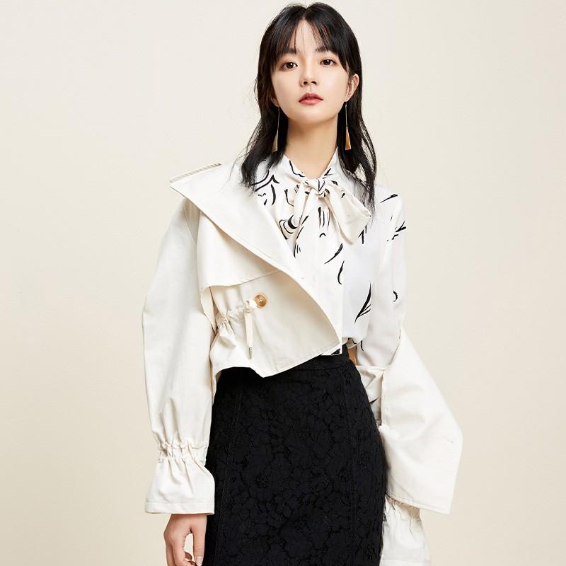 金苑外套女2020春季新款翻领休闲小香风时尚收腰短外套女D2011063
