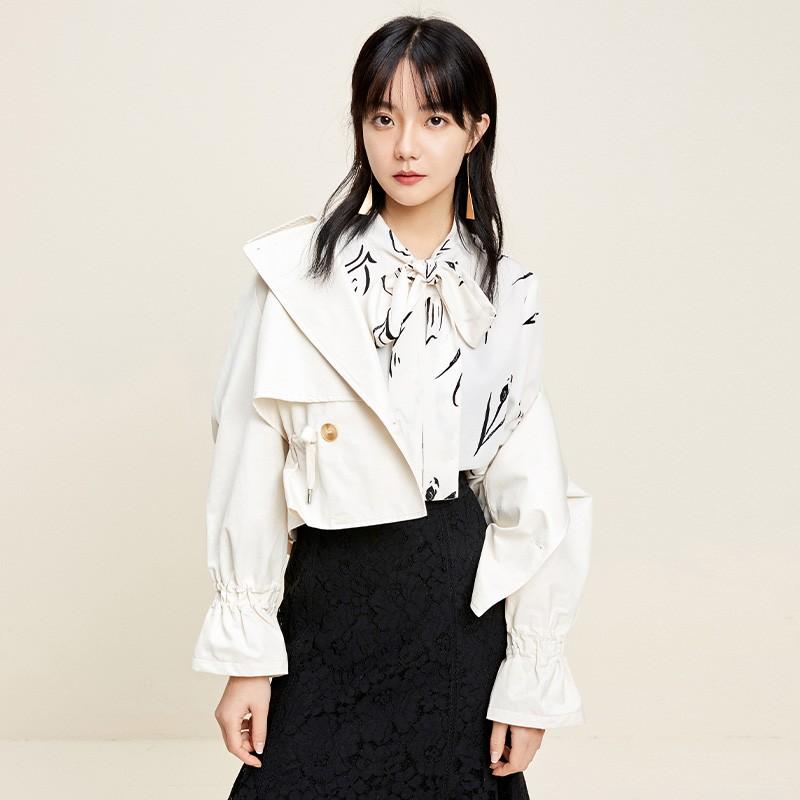 金苑外套女2020春季新款翻领休闲小香风时尚收腰短外套女D2011062