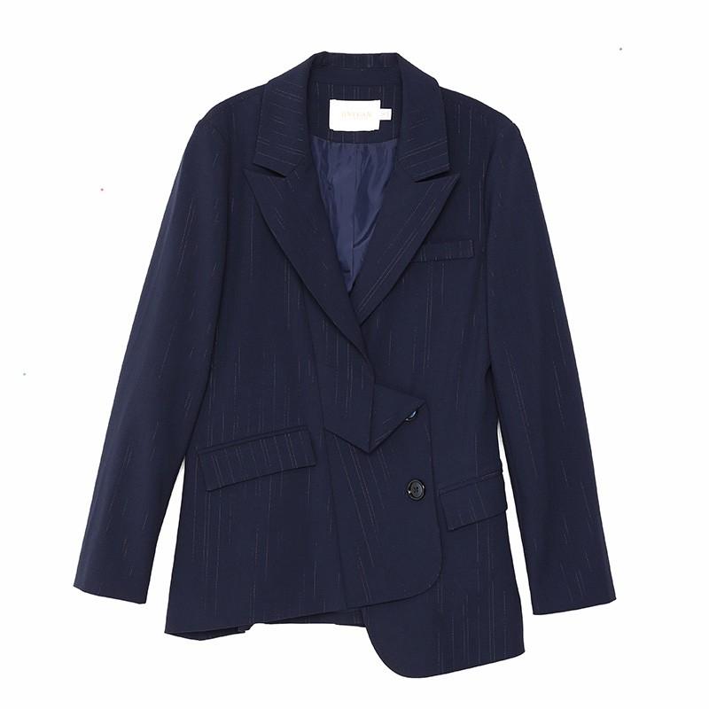 金苑不规则下摆西装外套设计感气质修身上衣2020春季女装D2011075