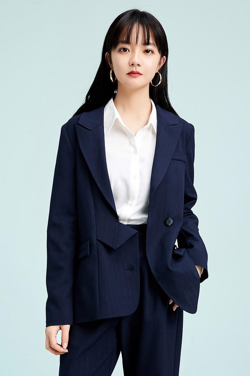 金苑不规则下摆西装外套设计感气质修身上衣2020春季女装D2011079
