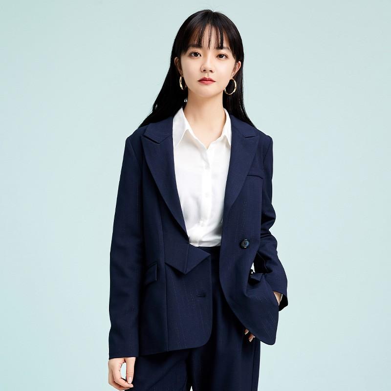 金苑不规则下摆西装外套设计感气质修身上衣2020春季女装D2011076