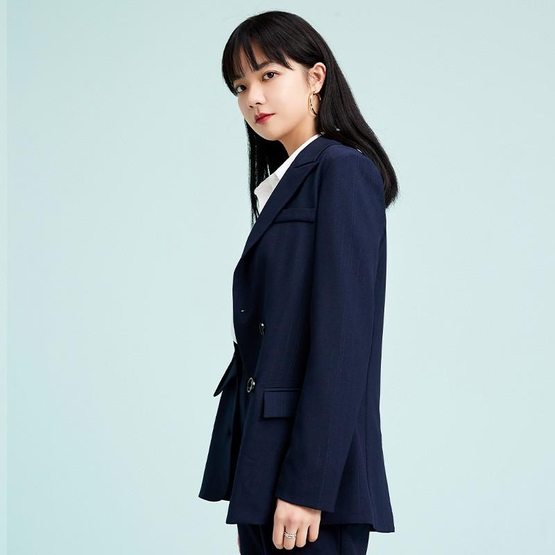 金苑不规则下摆西装外套设计感气质修身上衣2020春季女装D2011073