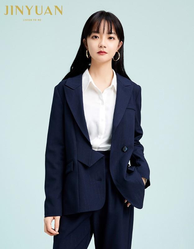 金苑不规则下摆西装外套设计感气质修身上衣2020春季女装D2011077