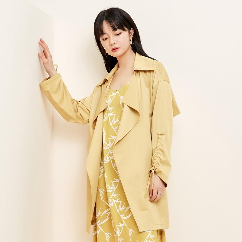 金苑设计感百搭风衣中长款文艺修身外套2020春装新款女装E2011038