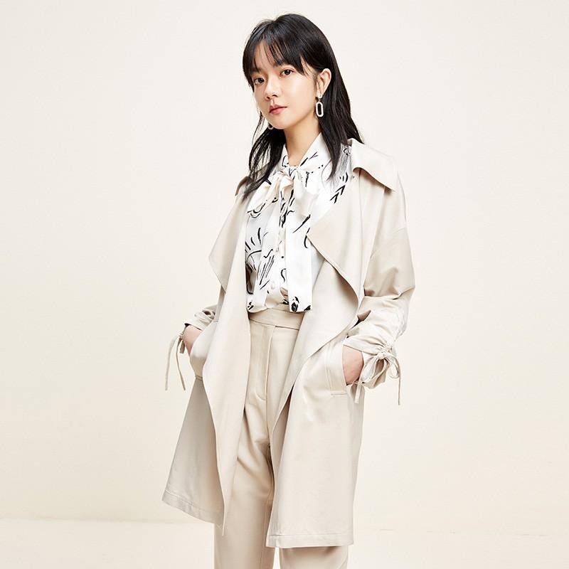 金苑设计感百搭风衣中长款文艺修身外套2020春装新款女装E2011032