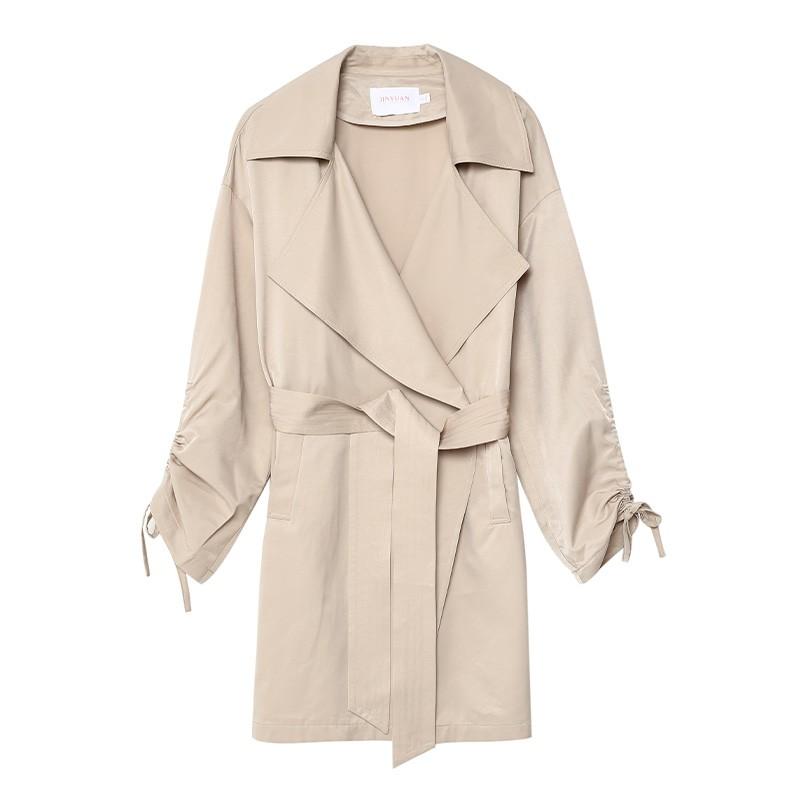 金苑设计感百搭风衣中长款文艺修身外套2020春装新款女装E2011035