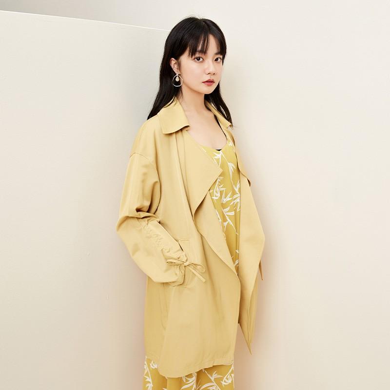 金苑设计感百搭风衣中长款文艺修身外套2020春装新款女装E2011039