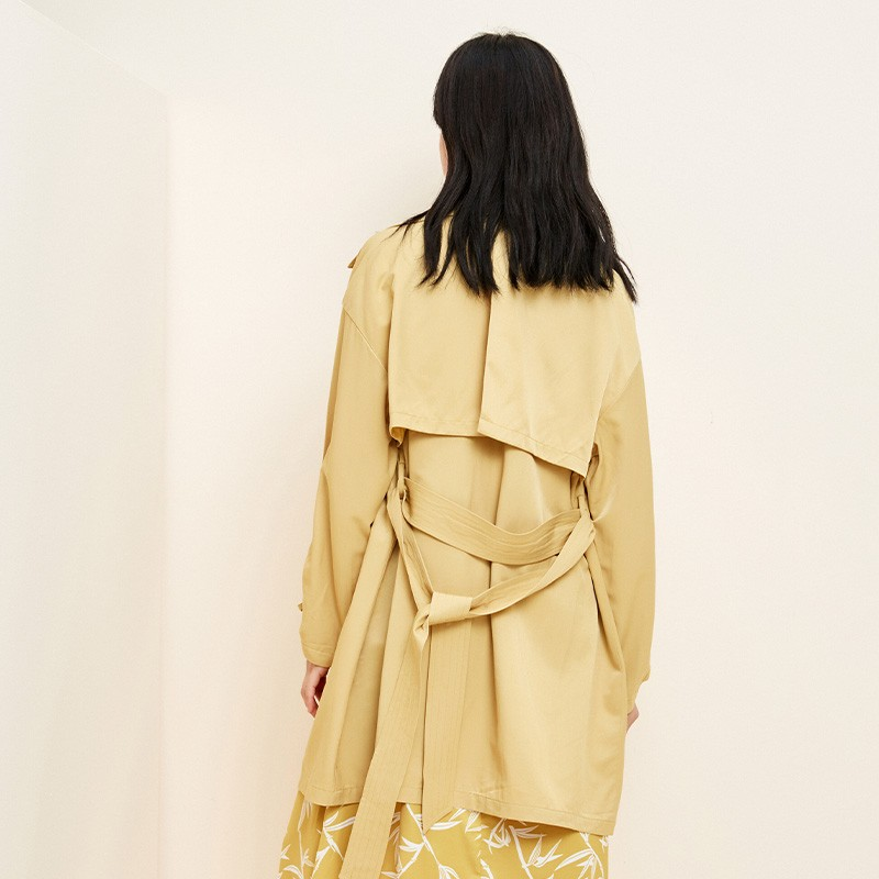 金苑设计感百搭风衣中长款文艺修身外套2020春装新款女装E20110310