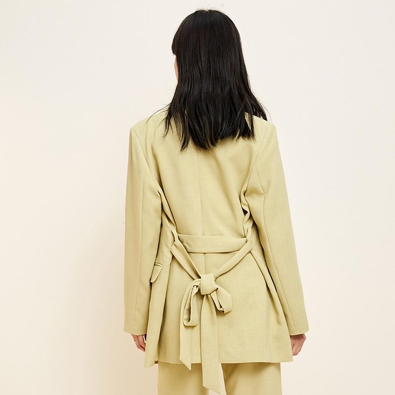 金苑中长款西装外套系带气质修身上衣2020年春季新款女装E2011073