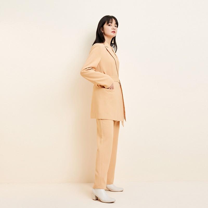 金苑中长款西装外套系带气质修身上衣2020年春季新款女装E2011074