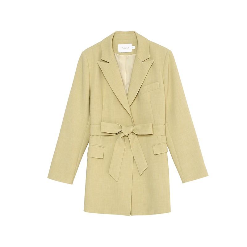 金苑中长款西装外套系带气质修身上衣2020年春季新款女装E2011075