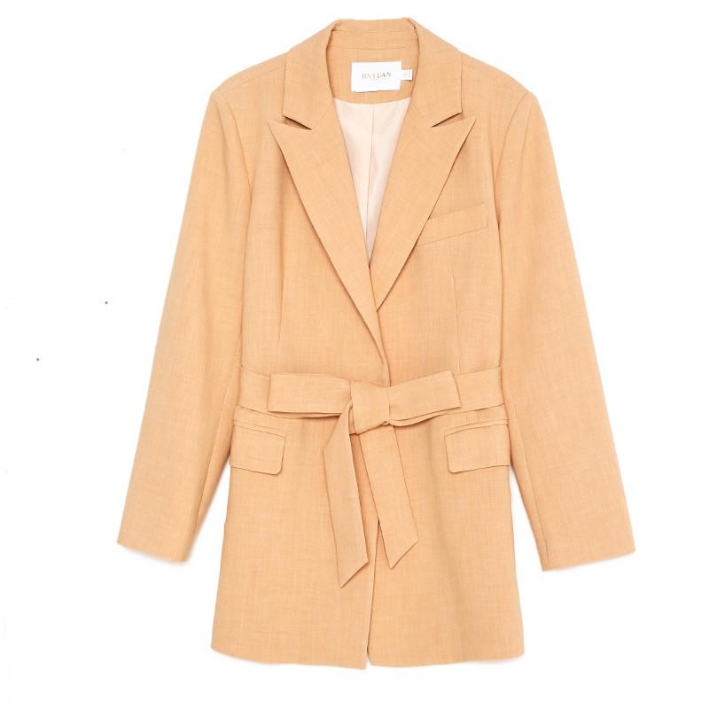 金苑中长款西装外套系带气质修身上衣2020年春季新款女装E2011076