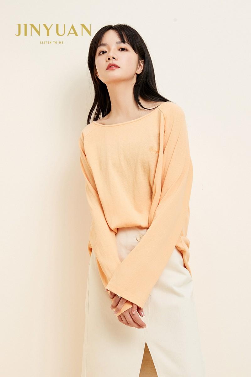 金苑韩版百搭T恤宽松长袖圆领纯色上衣2020春装新款女装F2011057