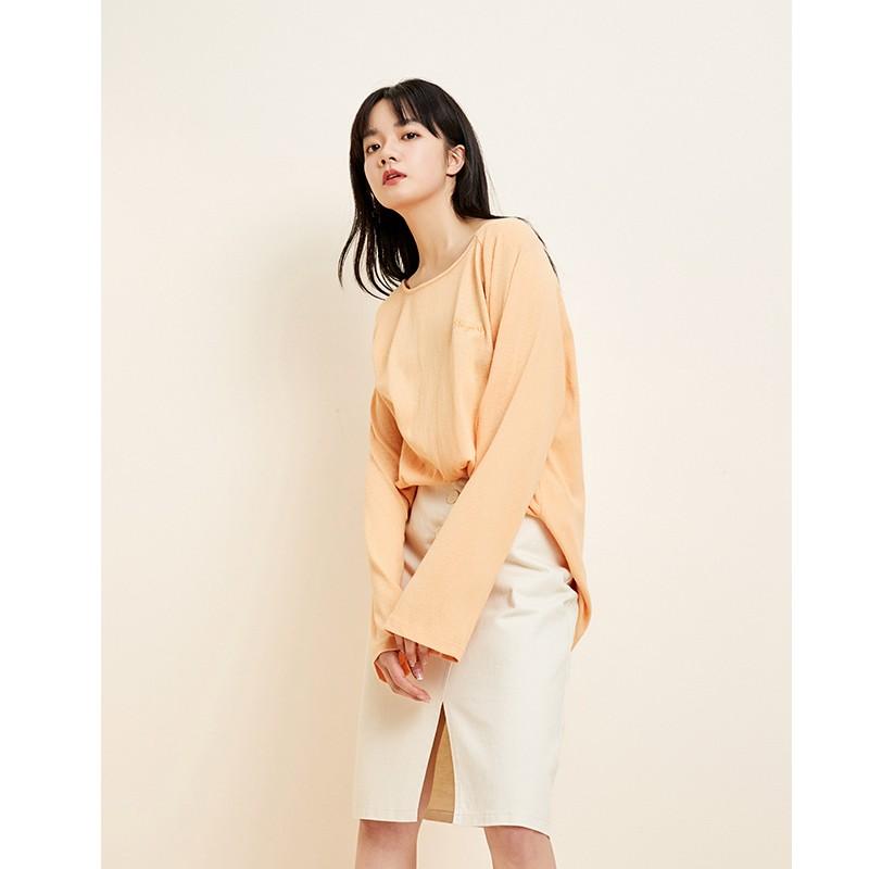 金苑韩版百搭T恤宽松长袖圆领纯色上衣2020春装新款女装F2011052