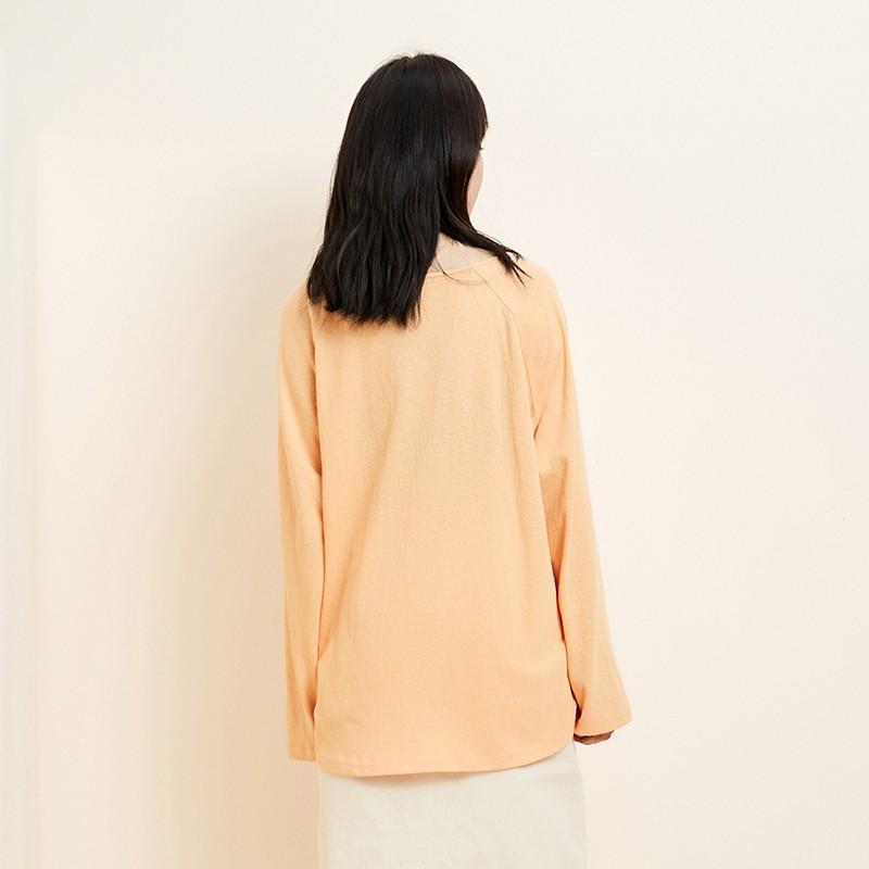 金苑韩版百搭T恤宽松长袖圆领纯色上衣2020春装新款女装F2011055