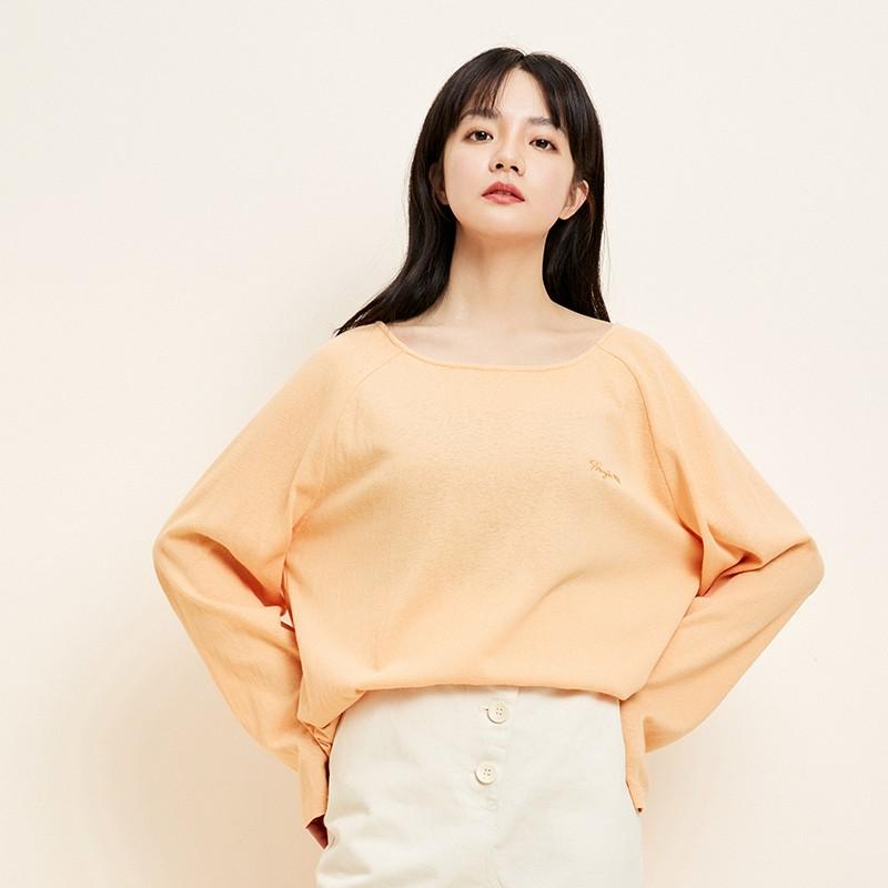 金苑韩版百搭T恤宽松长袖圆领纯色上衣2020春装新款女装F2011054